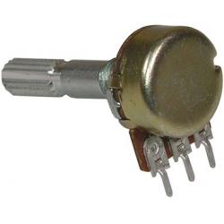 Potenciometr otočný uhlíkový. kovová osa. B 1M