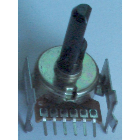 Potenciometr stereo otočný 20k / A, délka hřídele 22mm