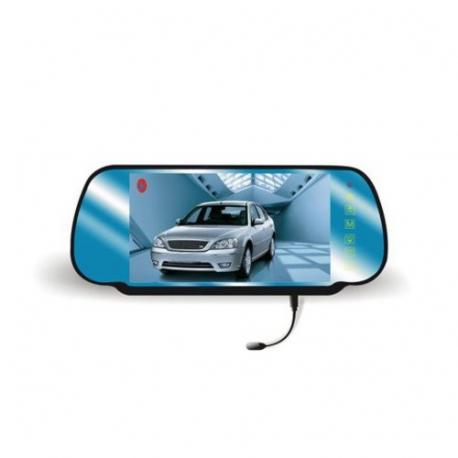 """Zpětné zrcátko do auta se 7"""" LCD monitorem. 2x video vstup. dotykové ovládání. bluetooth handsfree"""
