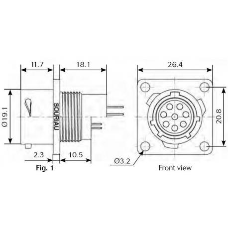 8 pin panelový konektor